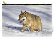 Wolf Canis Lupus Walking In Snow Carry-all Pouch