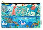 Woman And Blue Elephant Beside The Lake Carry-all Pouch
