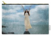 Woman By The Sea With Arms Reaching Up In Praise Carry-all Pouch