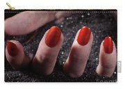 Woman Hand With Red Nail Polish Buried In Black Sand Carry-all Pouch