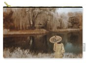Woman In Vintage Dress With Parason By Lake Carry-all Pouch