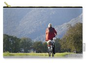 Woman On A Bicycle With Her Dog Carry-all Pouch