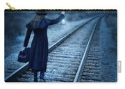 Woman On Tracks Night Carry-all Pouch