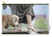 Woman With A Skirt And A Dog Carry-all Pouch