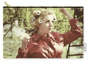 Woman With Rain Coat And Curlers Carry-all Pouch by Joana Kruse