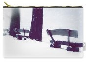 Wooden Benches In Snow Carry-all Pouch