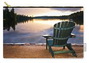 Wooden Chair At Sunset On Beach Carry-all Pouch