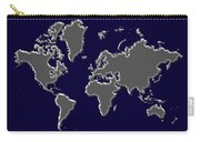 World Map Silver Carry-all Pouch