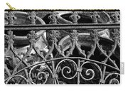 Wrought Iron Gate And Pots Black And White Carry-all Pouch