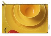 Yellow Cup And Plate Carry-all Pouch