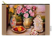 Yellow Daffodils Red Roses  Peaches And Oranges With Tea Cup  Carry-all Pouch