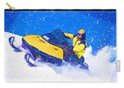 Yellow Snowmobile In Blizzard Carry-all Pouch