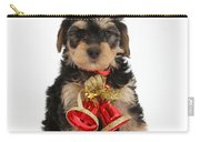 Yorkipoo Pup Wearing Christmas Bells Carry-all Pouch