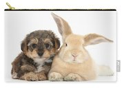 Yorkipoo Pup With Sandy Rabbit Carry-all Pouch