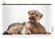 Yorkshire Terrier Dog And Baby Rabbits Carry-all Pouch