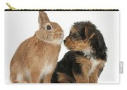 Yorkshire Terrier Pup With Rabbit Carry-all Pouch