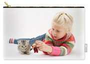 Young Girl With Silver Tabby Kitten Carry-all Pouch