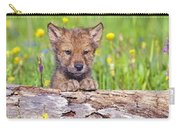 Young Wolf Cub Peering Over Log Carry-all Pouch