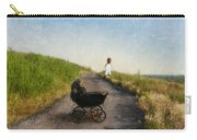Young Woman And Baby Buggy On Dirt Road  Carry-all Pouch