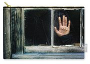 Young Woman Looking Through Hole In Window Carry-all Pouch by Jill Battaglia