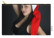 Young Woman Wearing Santa Hat Carry-all Pouch