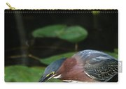 A Green Heron With Fish Carry-all Pouch