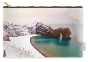 Illustration Of  The Durdle Door In Snow Carry-all Pouch