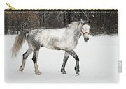 Light  Grey Horse Goes On A Winter Glade  Carry-all Pouch