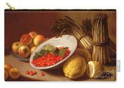 Still Life Of Raspberries Lemons And Asparagus  Carry-all Pouch