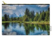 Wyoming Tetons Spruce Mountain Lake. Oil Painting . Carry-all Pouch