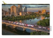 A Beautiful Sunset Falls On The Austin Skyline As Thousands Of Bat Watchers Line The Congress Avenue Bridge During The Annual Bat Fest To Watch The Bats Take Flight Carry-all Pouch