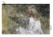 A Girl With Flowers On The Grass Carry-all Pouch