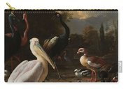 A Pelican And Other Birds Near A Pool, Known As The Floating Feather, Melchior D Hondecoeter, Carry-all Pouch