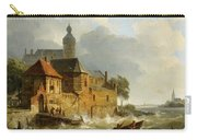 A Rowing Boat In Stormy Seas Near A City Carry-all Pouch