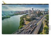 Aerial View Of The Austin Skyline As Rush Hour Traffic Picks Up On I-35 Carry-all Pouch