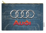 Audi 3 D Badge Over 2016 Audi R 8 Blueprint Carry-all Pouch by Serge Averbukh