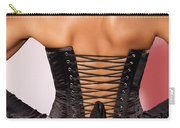 Beautiful Woman In Black Corset Carry-all Pouch