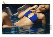 Beautiful Young Woman In Blue Bikini Carry-all Pouch