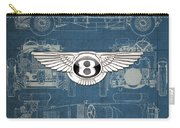Bentley - 3 D Badge Over 1930 Bentley 4.5 Liter Blower Vintage Blueprint Carry-all Pouch