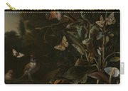 Birds Butterflies And A Frog Among Plants And Fungi Carry-all Pouch