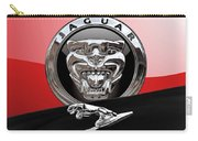 Black Jaguar - Hood Ornaments And 3 D Badge On Red Carry-all Pouch by Serge Averbukh