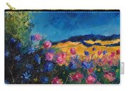 Blue And Pink Flowers Carry-all Pouch