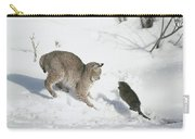 Bobcat Lynx Rufus Hunting Muskrat Carry-all Pouch by Michael Quinton