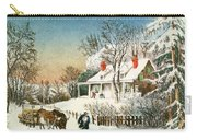 Bringing Home The Logs Carry-all Pouch by Currier and Ives