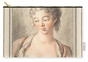 Bust Of A Young Woman Looking Down Carry-all Pouch