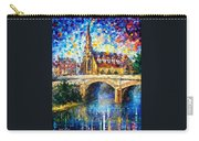 Castle By The River - Palette Knife Oil Painting On Canvas By Leonid Afremov Carry-all Pouch