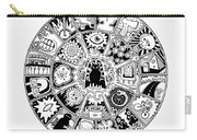 Cat Mandala Black And White Carry-all Pouch