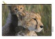 Cheetah Acinonyx Jubatus And Cub Carry-all Pouch