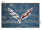Chevrolet Corvette 3 D Badge Over Corvette C 6 Z R 1 Blueprint Carry-all Pouch