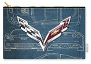 Chevrolet Corvette 3 D Badge Over Corvette C 6 Z R 1 Blueprint Carry-all Pouch
